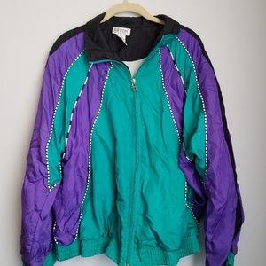 Lavon 80's purple turquoise windbreaker jacket XL